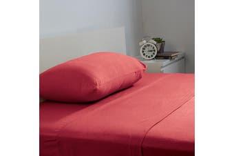 Bambury BedT Sheet Set - 100% Cotton Jersey - 35cm Deep - Ruby - King Single