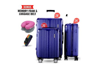 3pc Luggage Suitcase Trolley Set TSA Travel Carry On Bag Hard Case Lightweight H