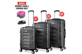 3pc Luggage Suitcase Trolley Set TSA Travel Carry On Bag Hard Case Lightweight A