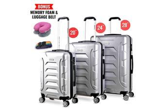 3pc Luggage Suitcase Trolley Set TSA Travel Carry On Bag Hard Case Lightweight C