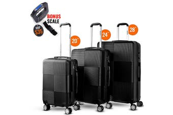 3pc Luggage Suitcase Trolley Set TSA Travel Carry On Bag Hard Case Lightweight D