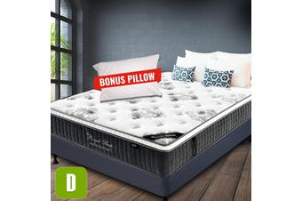 DOUBLE Mattress Size Bed Euro Top 9 Zone Pocket Spring 34cm Foam Latex NEW