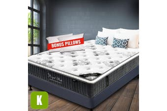 King Mattress Bed Euro Top 9 Zone Pocket Spring Latex Foam 34cm Chiro Endorsed