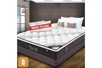 QUEEN Mattress Bed Euro Top Pocket Spring Firm Foam 33CM *9 Zone *Bonus Pillows