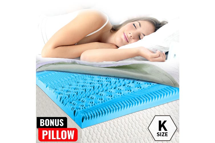 COOL GEL Memory Foam Bed Mattress Topper King BAMBOO Fabric Cover *10 Zone 5CM