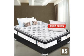 KING SINGLE Mattress Euro and Pillow Top 9 Zone Pocket Latex Memory Foam 34CM