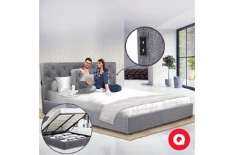 Royal Sleep Queen Bed Frame Gas Lift Platform Base Mattress Fabric Piuma Grey