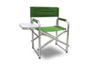 Directors Aluminium Folding Chair Camping Picnic Director Fishing w/ Table - green