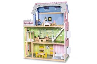 Wooden DIY Dolls Doll House 3 Level Kids Pretend Play Toys Full Furniture Set
