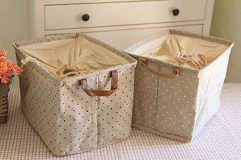 Canvas Zakka Vintage Drawstring Storage Laundry Shopping Basket Fold Bin Spot