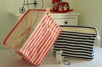 Navy Canvas Zakka Vintage Drawstring Storage Laundry Shopping Basket Fold Bin