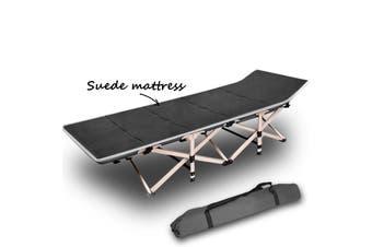 Camping Portable Stretcher Single Foldable Folding Bed Mattress Recliner Mat Grey