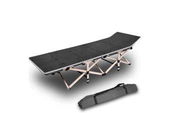 Camping Portable Stretcher Single Foldable Folding Bed Mattress Recliner Mat - grey