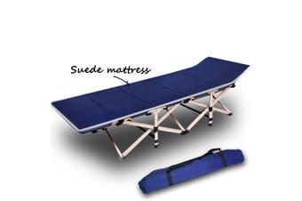 Camping Portable Stretcher Single Foldable Folding Bed Mattress Recliner Mat Navy