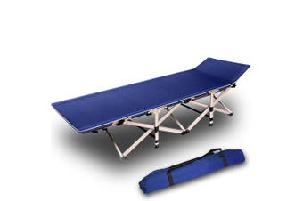 Camping Portable Stretcher Single Foldable Folding Bed Recliner Mat - navy