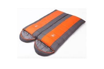 Double Camping Envelope Twin Sleeping Bag Thermal Tent Hiking Winter 0?? C Orange