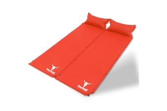 Double Air Bed Self Inflating Mattress Sleeping Mat Camping Camp Hiking Joinable - red
