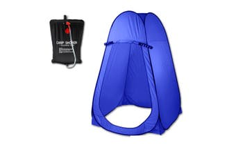 Pop Up  Portable Privacy Shower room Tent &20L Outdoor Camping Water Bag Camp Set - blue