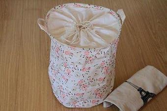 Round Canvas Zakka Vintage Drawstring Storage Laundry Shopping Basket Fold Bin - Red Flower
