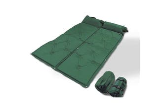 Double Self Inflating Mattress Camping Hiking Airbed Camp Mat Sleeping Pillow w/ Bag - green