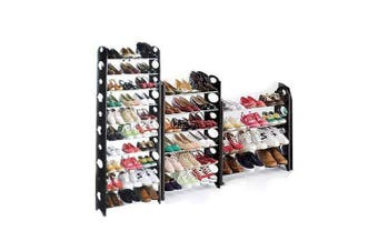 10 Tier Black Shoe Stackable Storage Rack - Capacity for 30 Pairs Shoes