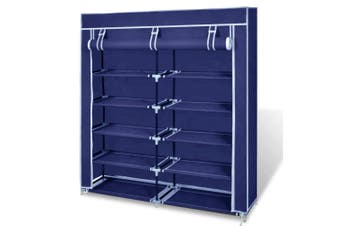 2 Doors with Cover Portable Storage Shoe Rack Cabinet Wardrobe - navy