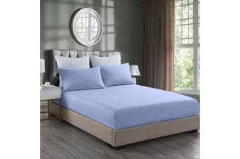 Royal Comfort 2000TC 3 Piece Fitted Sheet and Pillowcase Set Bamboo Cooling - King - Light Blue