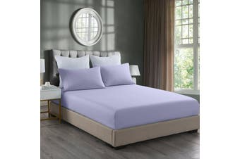 Royal Comfort 2000TC 3 Piece Fitted Sheet and Pillowcase Set Bamboo Cooling - King - Lilac Grey