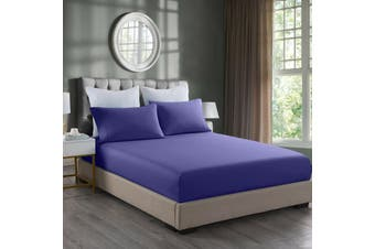 Royal Comfort 2000TC 3 Piece Fitted Sheet and Pillowcase Set Bamboo Cooling - King - Royal Blue