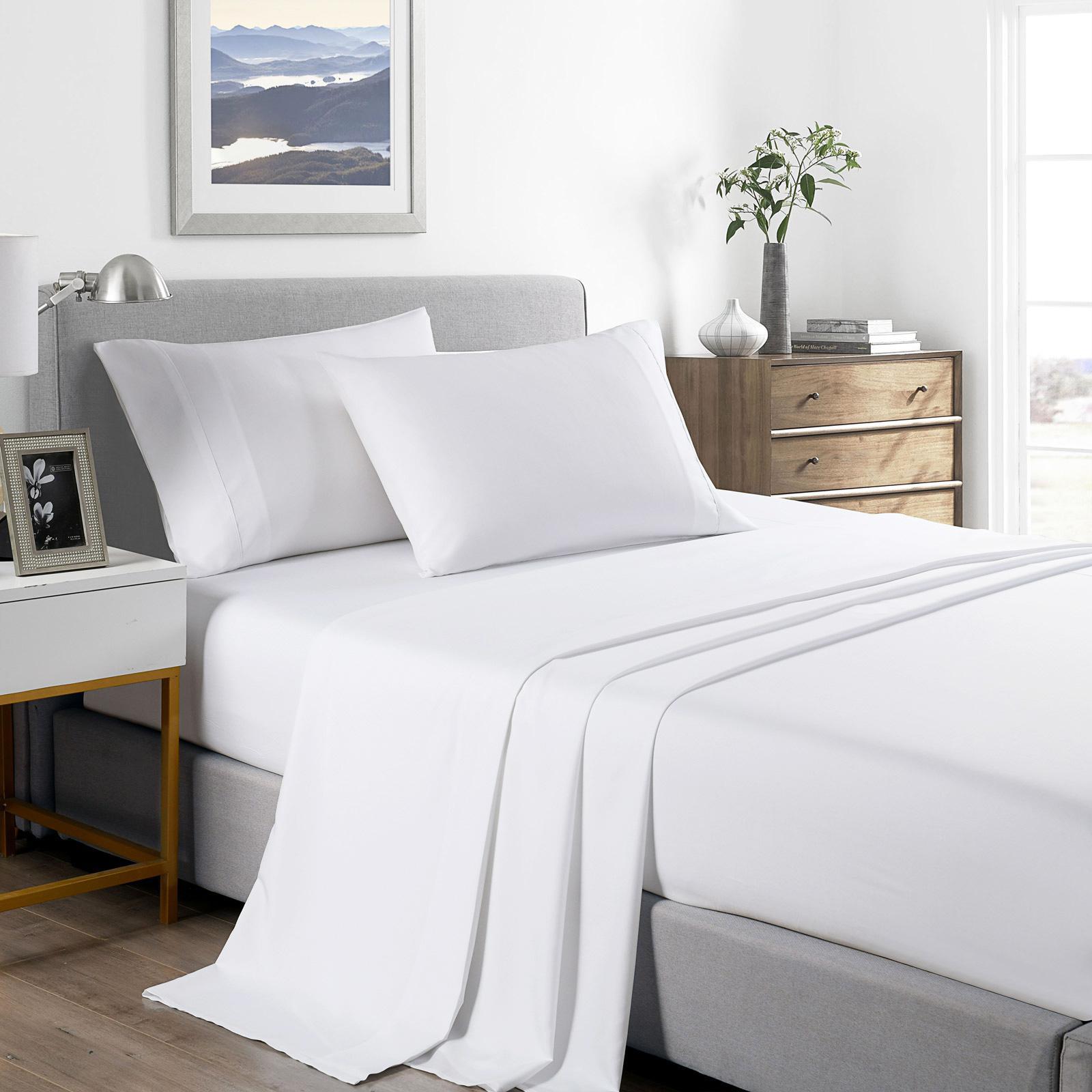 Casa Decor 2000 Thread Count Bamboo Cooling Sheet Set Ultra Soft Bedding Queen White Matt Blatt
