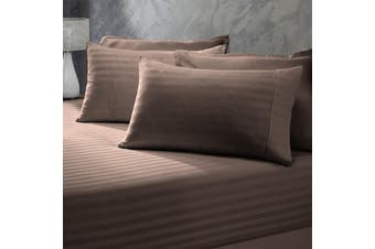 Royal Comfort 1200 Thread Count 3 Piece Combo Set 100% Egyptian Cotton Striped - Queen - Charcoal