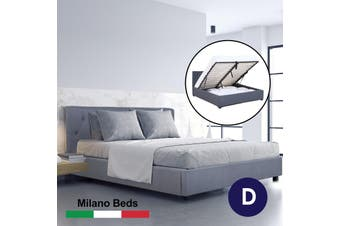 Milano Capri Luxury Gas Lift Bed Frame Base And Headboard With Storage All Sizes - Double - Grey