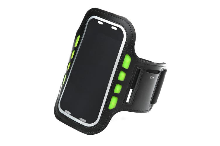 LED Sport Active Biking Glow Night Safety Armband Band w/ Phone Holder - Black