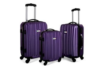 Milano Deluxe 3pc ABS Luggage Suitcase Luxury Hard Case Shockproof Travel Set - Purple
