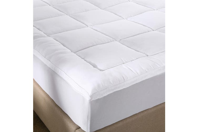 Royal Comfort 1000GSM Memory Mattress Topper Cover Protector Underlay - Single - White