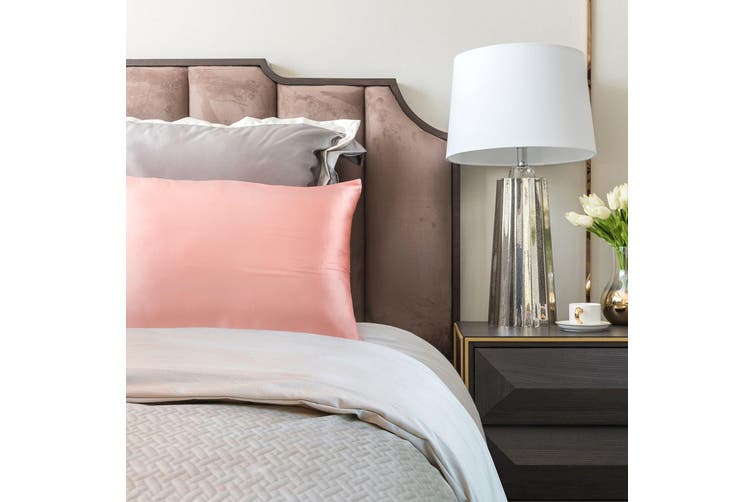 Royal Comfort Mulberry Soft Silk Hypoallergenic Pillowcase Twin Pack 51 x 76cm - Blush