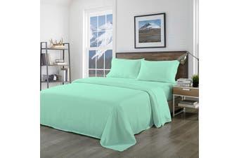 Royal Comfort Bamboo Blended Sheet & Pillowcases Set 1000TC Ultra Soft Bedding - Queen - Green