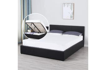 Milano Luxury Gas Lift Bed Frame And Headboard Queen King Black Beige Dark Grey - King - Black