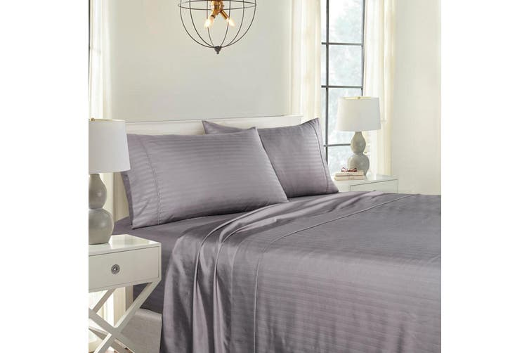 Royal Comfort Cooling Bamboo Blend Sheet Set Striped 1000 Thread Count Pure Soft - King - Charcoal