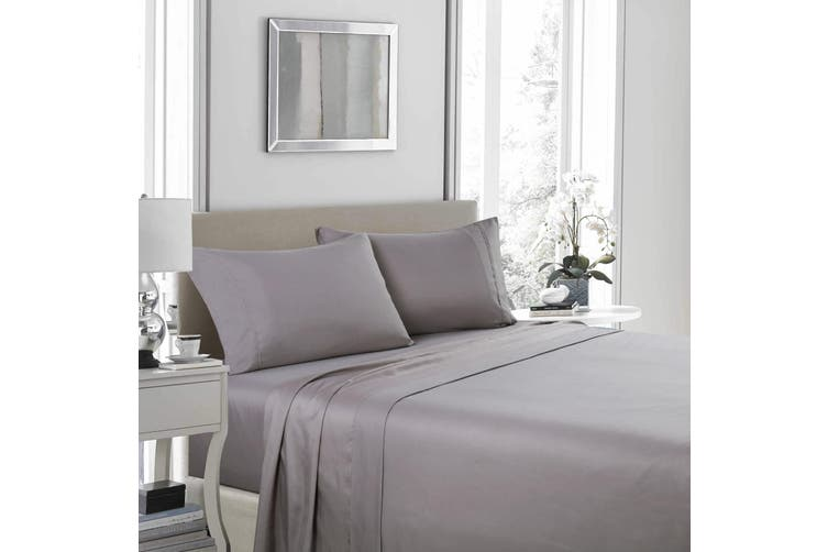 Royal Comfort 1200 Thread Count Sheet Set 4 Piece Ultra Soft Satin Weave Finish - King - Charcoal