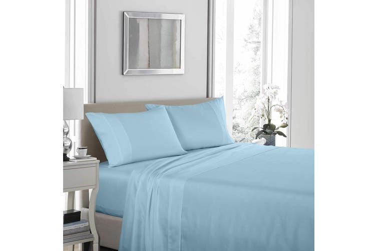 Royal Comfort 1200 Thread Count Sheet Set 4 Piece Ultra Soft Satin Weave Finish - King - Sky Blue