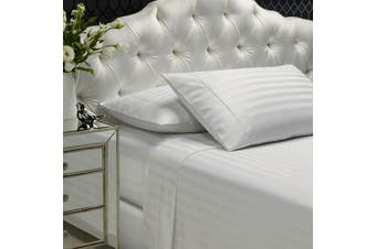 Royal Comfort 1200TC Sheet Set Damask Cotton Blend Ultra Soft Sateen Bedding - Queen - White