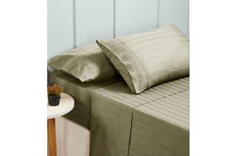 Bed Sheets Set 1000TC Cotton Blend Flat Fitted Double/Queen/King Size - Queen - Pumice Stone