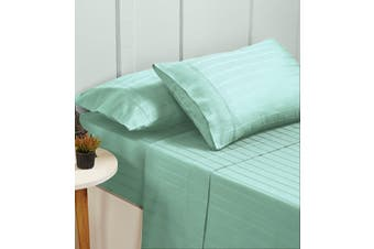 Bed Sheets Set 1000TC Cotton Blend Flat Fitted Double/Queen/King Size - Queen - Sprout Green