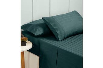 Bed Sheets Set 1000TC Cotton Blend Flat Fitted Double/Queen/King Size - Queen - Berring Sea