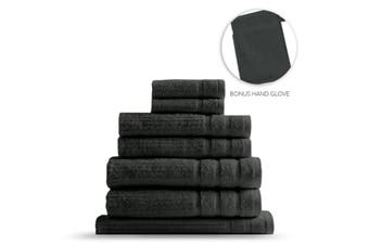 Royal Comfort Eden Egyptian Cotton 600GSM 8 Piece Luxury Bath Towels Set - Granite