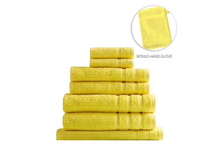 Royal Comfort Eden Egyptian Cotton 600GSM 8 Piece Luxury Bath Towels Set - Yellow