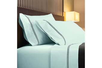Renee Taylor 1000TC Sorrento Sheet Set Cotton Soft Touch Hotel Quality Bedding - Queen - Blue Fog