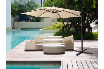 Milano 3M Outdoor Umbrella Cantilever Sun UV Patio Garden Beach Shade Deck Stand - Beige