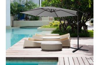 Milano 3M Outdoor Umbrella Cantilever Sun UV Patio Garden Beach Shade Deck Stand - Grey